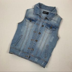 Blue Age Factory Distressed Light Wash Denim Vest